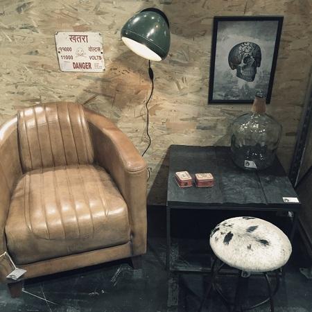 Industriële lederen fauteuil stoer