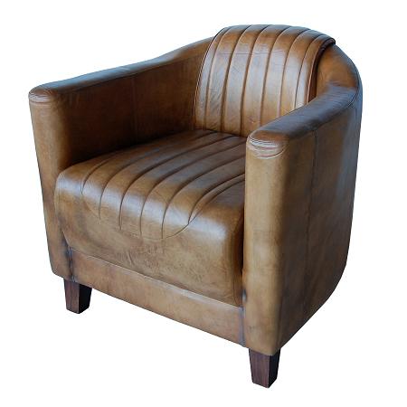 Industriële lederen fauteuil