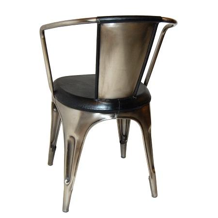 Industri le stoel metaal leer blockdesign for Eettafel stoel leer