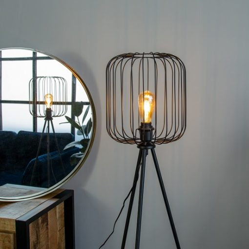 Stoere vloerlamp driepoot korf