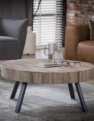 Salontafel rond metaal en hout t