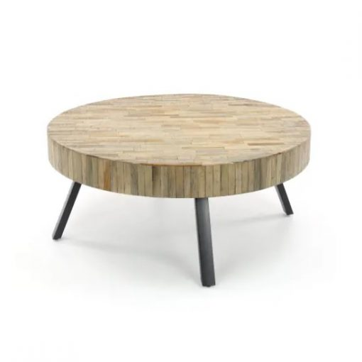 Salontafel rond metaal en hout