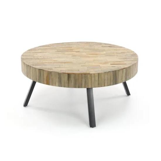 Extreem Salontafel rond metaal en hout Blockdesign @FC75