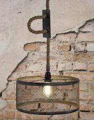 Industriele hanglamp metaal met touw
