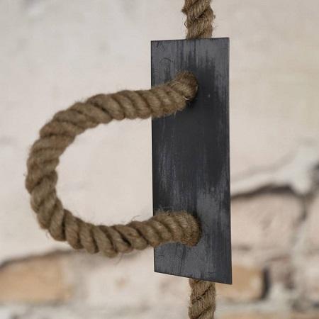 Industriele hanglamp metaal met touw stoer