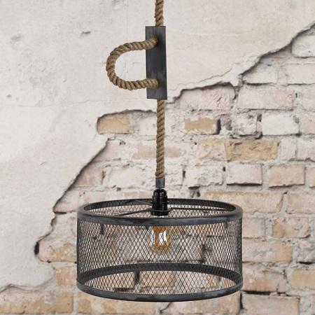 Industriele hanglamp metaal met touw verstelbaar