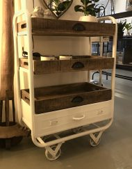 Industriele trolley wit ijzer