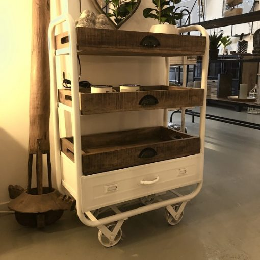 Industriele trolley wit ijzer