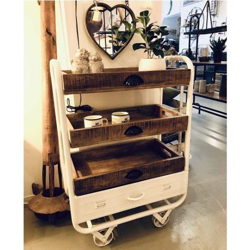 Industriele trolley wit ijzer frame