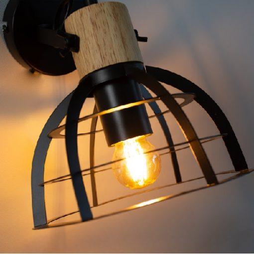 Stoere industriële wandlamp hout