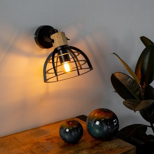 Stoere industriële wandlamp zwart