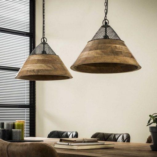 Hanglamp houten kappen mango hout