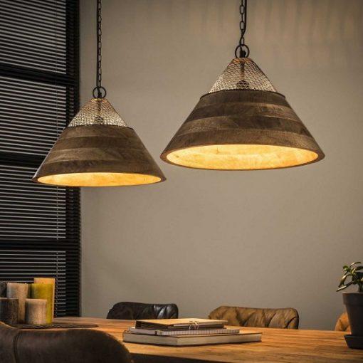 Hanglamp houten kappen mango