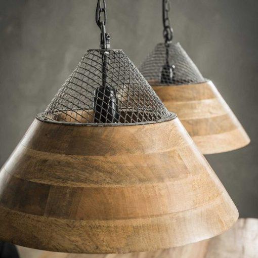 Hanglamp houten kappen mango twee