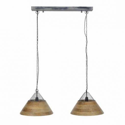 Hanglamp houten kappen twee