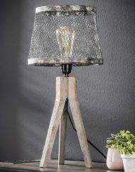 Industriele tafellamp met houten onderstel poot