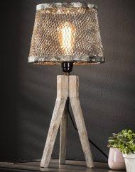 Industriele tafellamp met houten onderstel stoer
