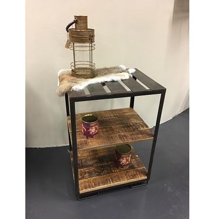 Industriele bijzettafel ijzer en hout