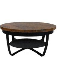 Stoere industriele salontafel zwart
