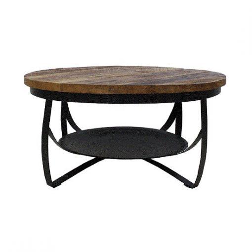 Stoere industriele salontafel zwart 90