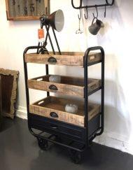 Kastje Trolley metaal vintage zwart