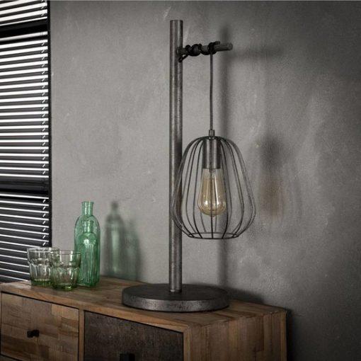 Tafellamp industrieel metalen kap grijs