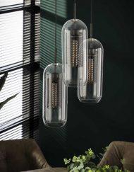 Glazen hanglamp industrieel drie kappen