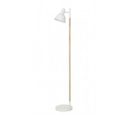 Houten vloerlamp met wit metalen kap
