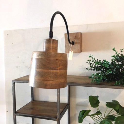Wandlamp houten kap ronden