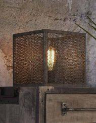 Industriele tafellamp metaal vierkant