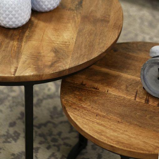 Ronde industriële salontafel zwart metaal