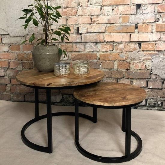 Beste Ronde industriële salontafel zwart - Blockdesign UN-64