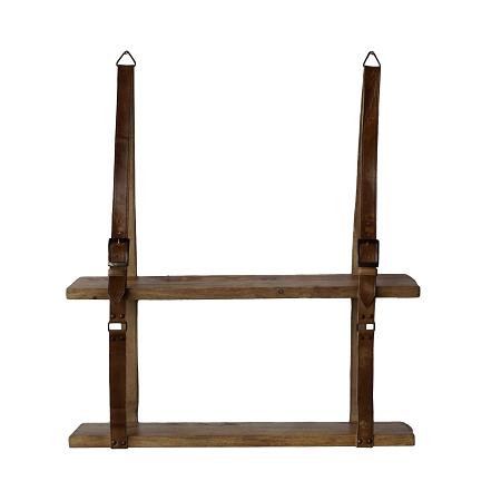 Wandplank met leren band houten plank