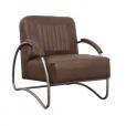 Industriele fauteuil bruin leer