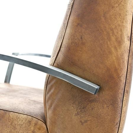 Industriele fauteuil cognac echt leer