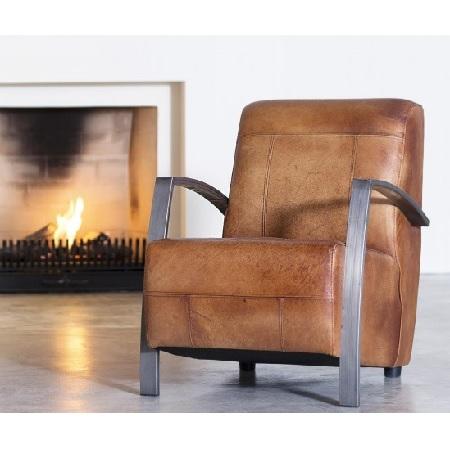 Industriele fauteuil cognac rosi leer