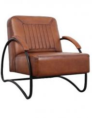 Industriele fauteuil cognac leer