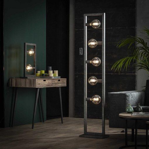 Stoere tafellamp metaal industrieel licht