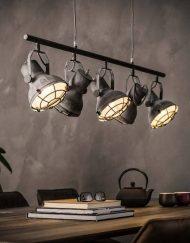 Vintage industriele hanglamp vijf spots