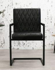Bagino industriele stoel zwart leder