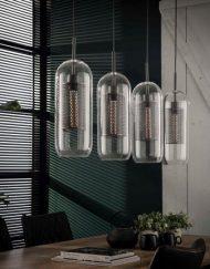 Glazen hanglamp helder metaal