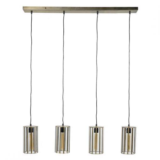 Glazen hanglamp industrieel brons kap