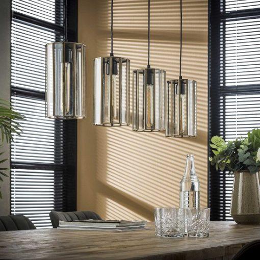 Glazen hanglamp industrieel brons metaal