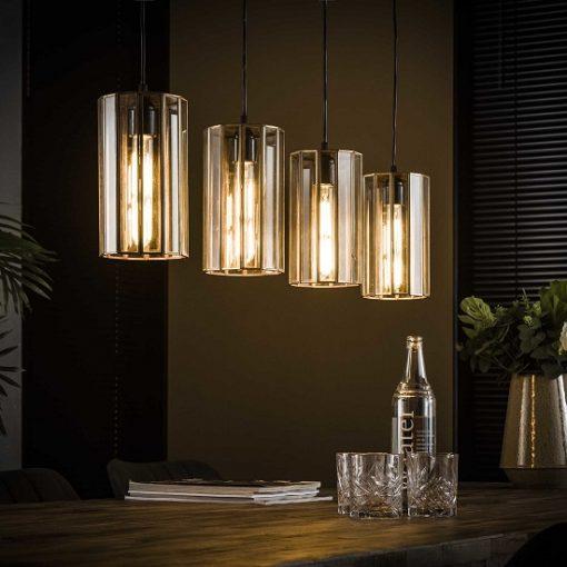 Glazen hanglamp industrieel brons