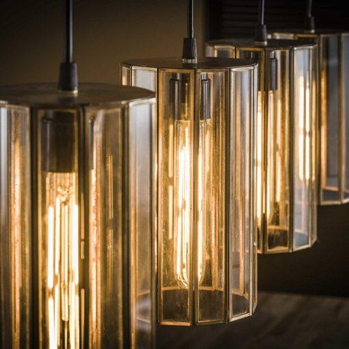 Glazen hanglamp industrieel bronzen