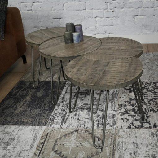 Salontafel set hout metaal ronden