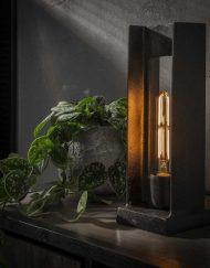 Antiek zwart nikkel tafellamp