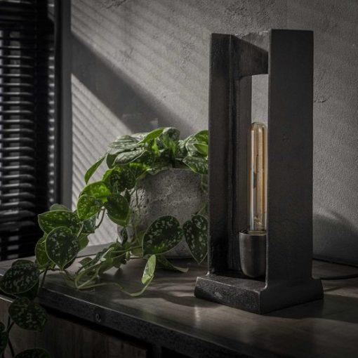 Antiek zwart nikkel tafellamp industrieel