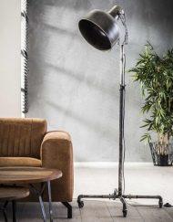 Industriele vloerlamp spot metaal wielen