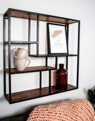 Industriele wandkast vierkant metalen frame